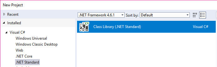 VS Create .Net Standard